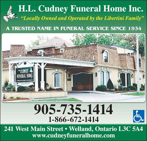 h l cudney funeral home welland on 241 west st