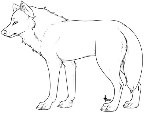 another generic wolf lineart template by stelliformed on