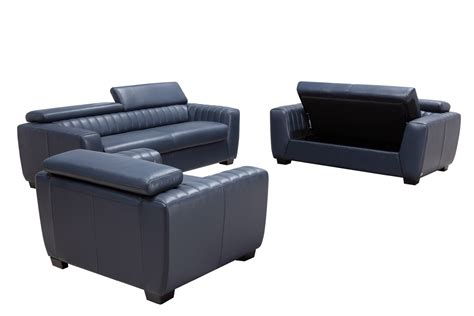 modern blue sofa divani casa russo modern blue leather sofa set