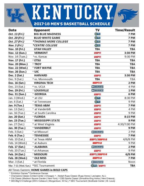 printable uk basketball schedule 2015 2017 2018 kentucky basketball schedule archives