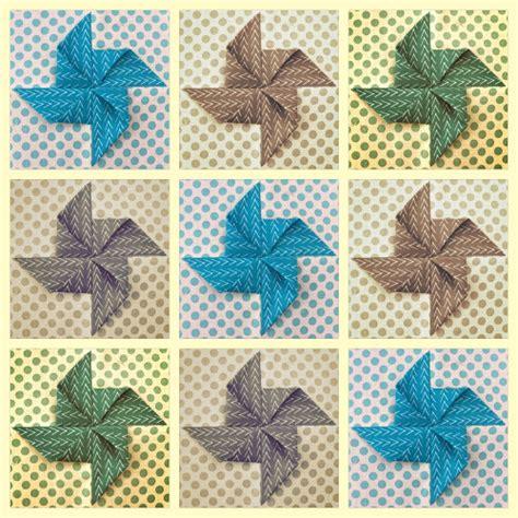 Origami Quilts - tutorial origami pinwheel quilt block sewn up
