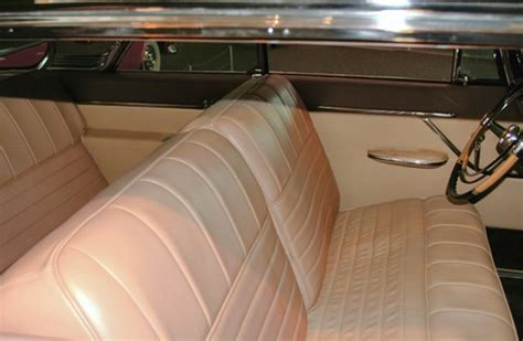 bench cl 1955 chrysler c 300 tan leather bench seat interior rvr black 2nd floor wpc museum