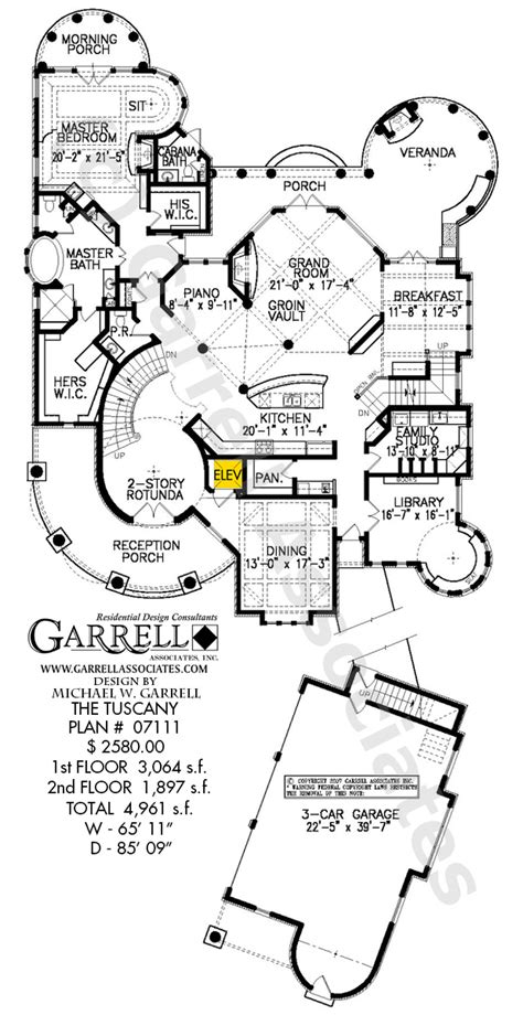 Tuscany Floor Plans by Tuscany House Plan House Plans By Garrell Associates Inc