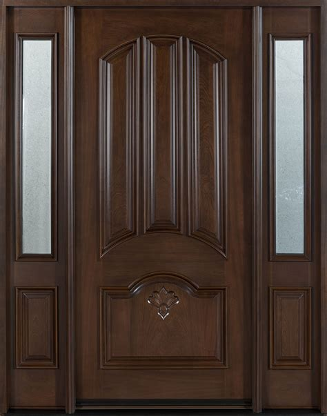 Custom Wood Front Door Front Door Custom Single With 2 Sidelites Solid Wood With Walnut Finish Classic Model Db