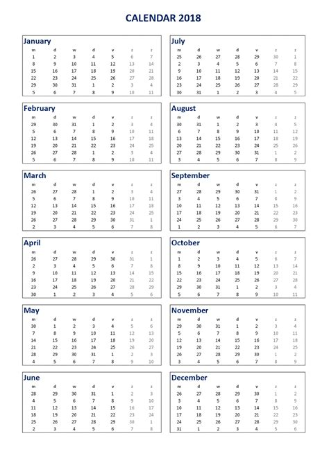 2018 Calendar Excel A3 portrait - Download our free 2018