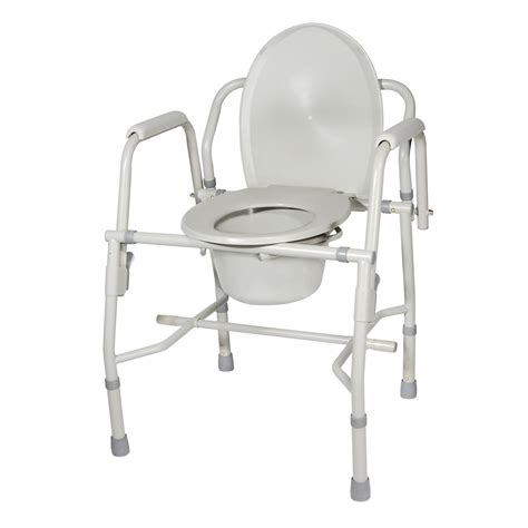 Drop Arm Commode Chair by Heavy Duty Steel Drop Arm Bedside Commode Padded Arms Drive 11125kd 1 Ebay