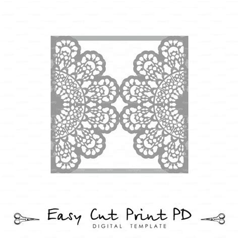 free wedding gate fold card template silhouette wedding invitation lace crochet doily pattern card