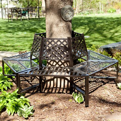 wrought iron wrap around tree bench coral coast longwood gardens steel tree surround outdoor