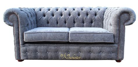 2 Seater Fabric Chesterfield Sofa Chesterfield 2 Seater Settee Sofa Bed Flamenco Crush Slate Fabric
