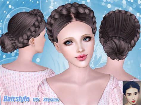 braided hairstyles sims 3 braided bun hair 195 by skysims free sims 3 hairstyles