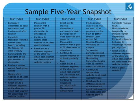 5 year goal plan template alumnae five year plan