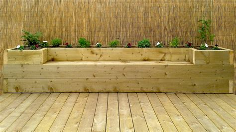 raised garden bed with bench seating softwood decking raised bed bench youtube