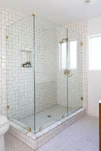White Subway Tile Shower Home Depot The Herringbone Subway Tile Continues In The Custom Built