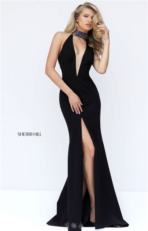 gold white fitted plunging neckline high slit prom dress sherri hill 50702 sleeveless halter with plunging neckline beading high slit and open back