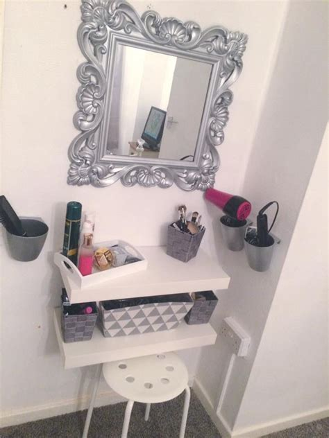 diy bedroom vanity diy dressing table ikea hack floating shelf grey white