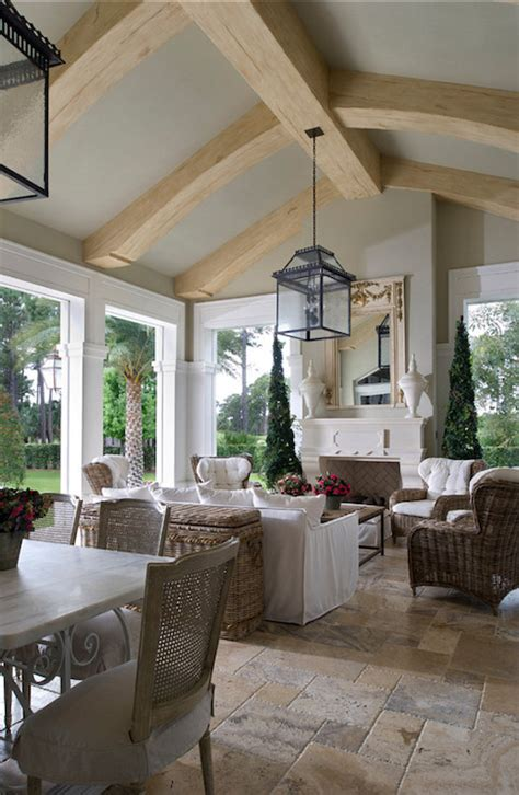 Sunroom with Fireplace   French   deck/patio   Yawn Design Studio