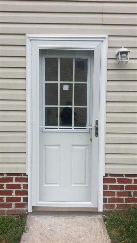 Exterior Garage Doors Smooth Fiberglass 9 Lite With Grilles Between Glass Side Garage Entry Door Doormasters Inc
