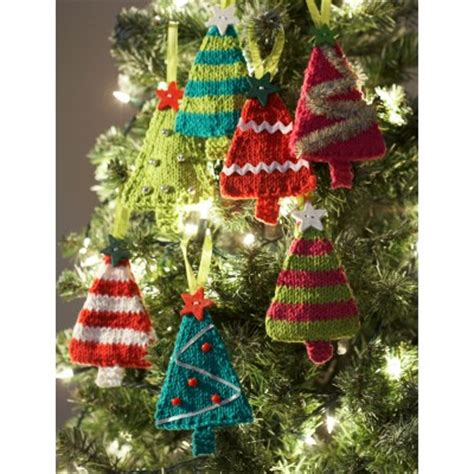 tiny trees christmas ornaments knitting bee