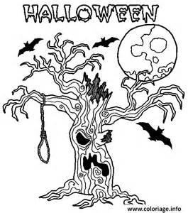 coloriage un arbre effrayant pour halloween dessin