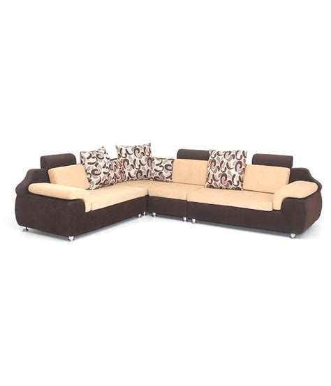 l shaped bharat life style l shape corner brown cream 6 seatar