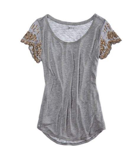 Sequined Sleeve T Shirt aerie sequin sleeve t shirt from american eagle outfitters
