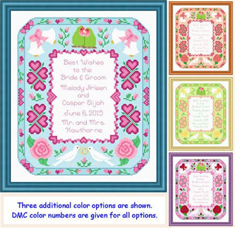 Wedding Announcement Cross Stitch Patterns by Wedding Announcement 10x12 Cross Stitch Pattern Wedding
