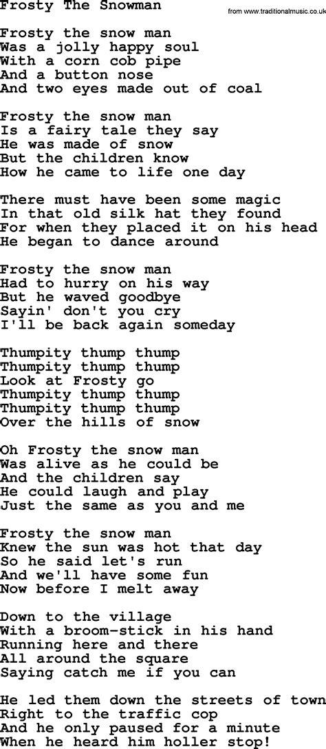 printable lyrics for frosty the snowman catholic hymns song frosty the snowman lyrics and pdf