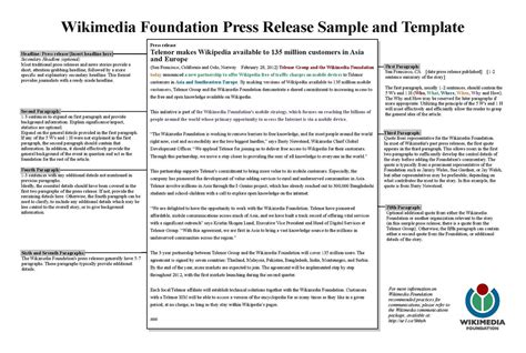 press release template pdf file wikimedia foundation press release template pdf