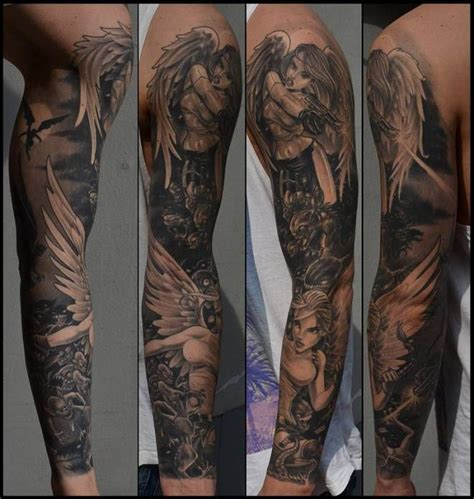 angels vs demons tattoo designs and sleeve vs