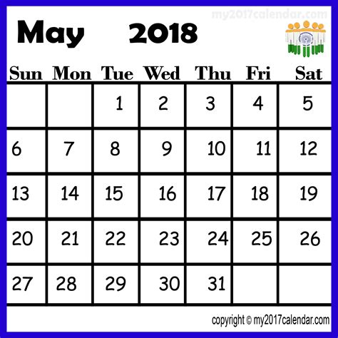 India Calendã 2018 May 2018 Calendar India Printable Monthly Calendars