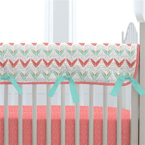 coral and teal bedding coral and teal arrow crib rail cover carousel designs