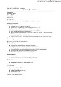 dump truck driver resume emphasizing career objective and