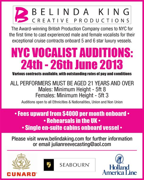 celebrity singers auditions auditions for singers vocalists wanted paid auditions free
