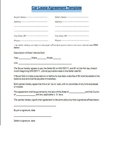 rent to buy contract template 96 rent to own car contract template rent to own