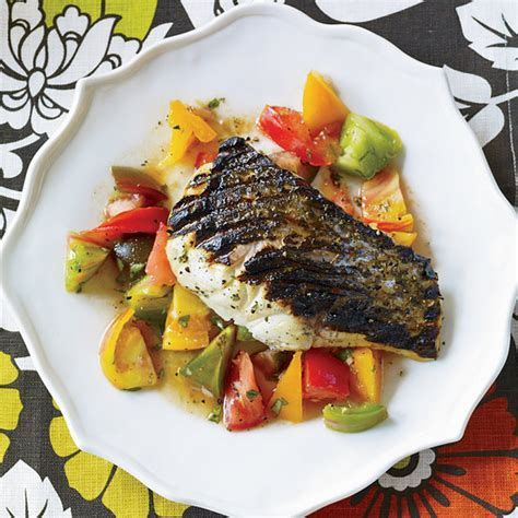 grilled striped bass with indian spiced tomato salad recipe floyd cardoz food wine