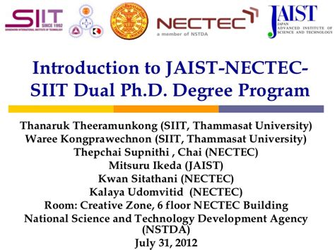 How Many Courses In A Dual Degree Program With Mba by Jaist Nectec Siit Phd Dual Degree Program Presentation