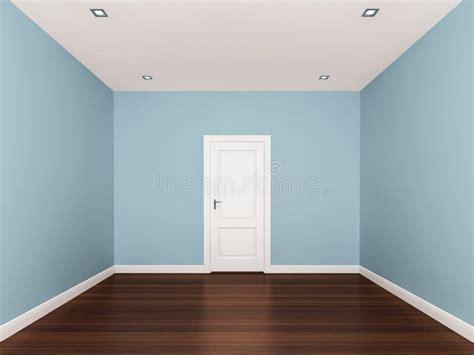 Light Blue Wall Empty Room,3d Interior Stock Photos