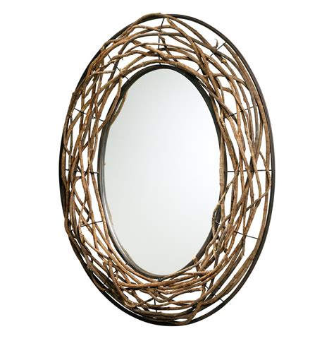 Cabin Mirrors by Rustic Lodge Cabin Woven Wood Large 35 Quot D Iron Mirror