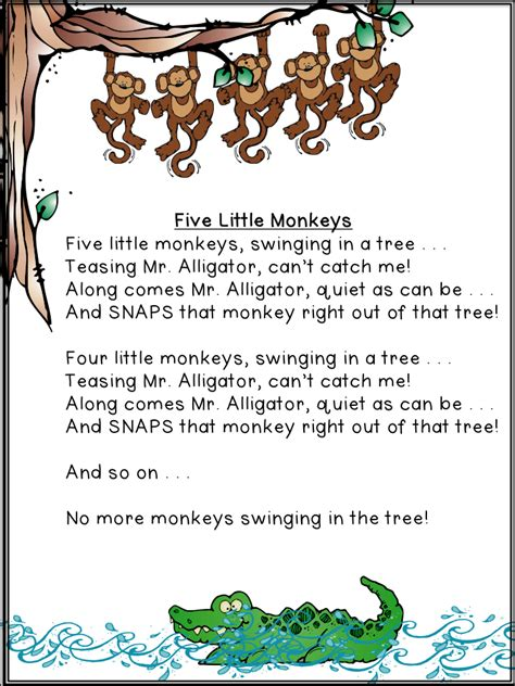 5 little monkeys swinging on a tree five little monkeys swinging in a tree archives a teeny