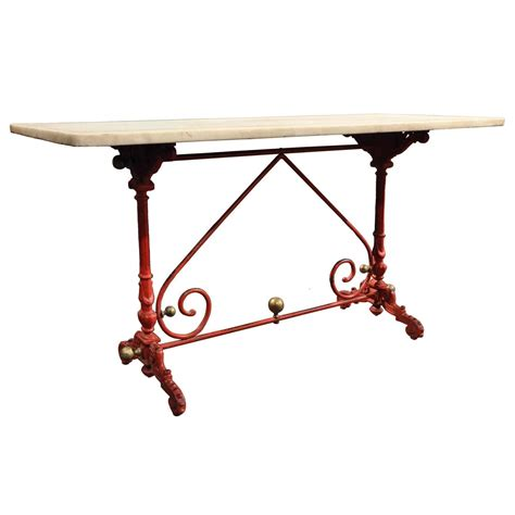 antique french pastry table with original marble top for