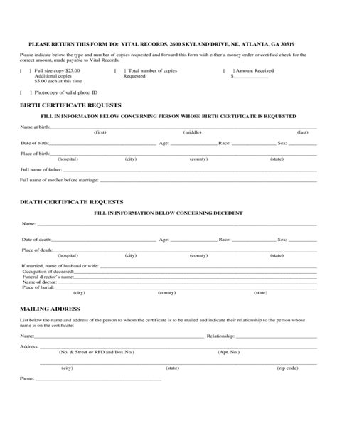 Birth Records Atlanta Ga Birth Certificate Request Form Edit Fill Sign Handypdf