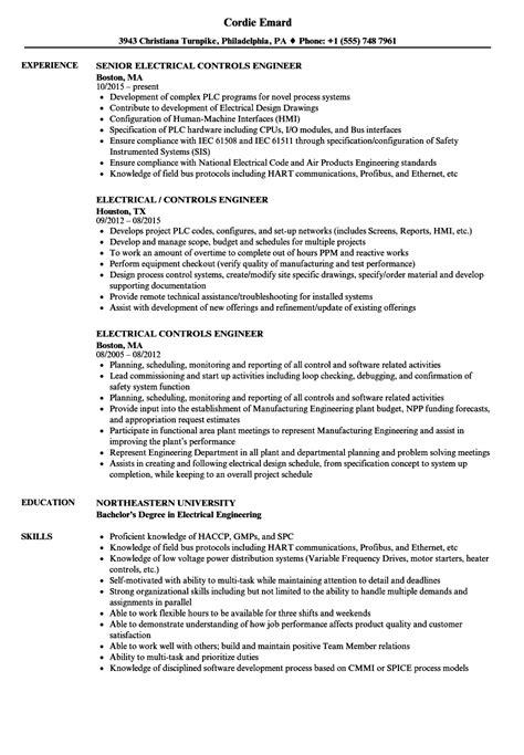 electrical test engineer resume exles electrical controls engineer resume sles velvet