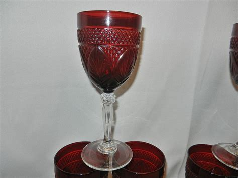 Pressed Glass Goblets Vintage Pressed Glass Wine Or Water Goblets From