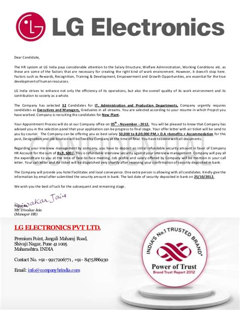 Appointment Letter For In India Lg Electronics Pvt Ltd India Offer Letter