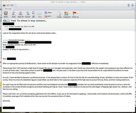 Resignation Letter For Email awesome ways to resign resigning to become a pirate