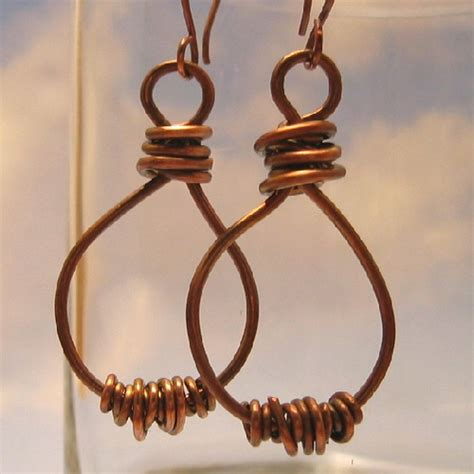 Handcrafted Copper Earrings - handmade oxidized copper earrings handcrafted from