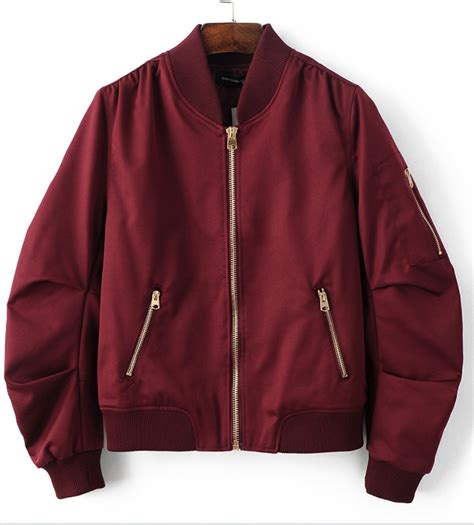 Bomber Jaket Maroon burgundy pleated bomber jacket clothes stretches and shoulder