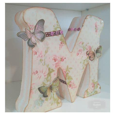 Decoupage L - letra decorada con decoupage y scrap gusbel manualidades