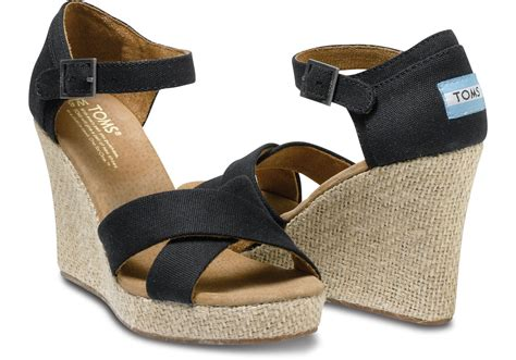 Wedges 2 Strappy toms canvas strappy wedge sandal in black lyst