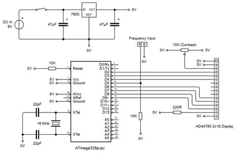 atmega328p pu pin diagram gt circuits gt frequency counter schematic diagram l45703
